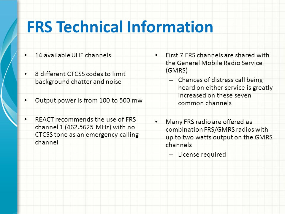 Family Radio Service (FRS) Designed for short-range personal communications Good news – Almost everyone owns one or more of these handy radios Bad news – Channels in some areas are crowded and undisciplined, making them less useful for emergency communications