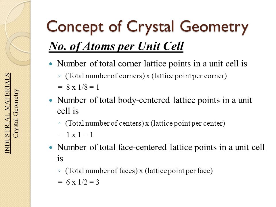 Concept of Crystal Geometry No. of Atoms per Unit Cell Number of total corner lattice points in a unit cell is ◦ (Total number of corners) x (lattice
