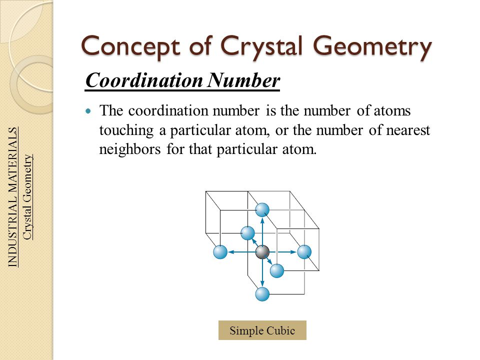 Concept of Crystal Geometry Coordination Number The coordination number is the number of atoms touching a particular atom, or the number of nearest ne