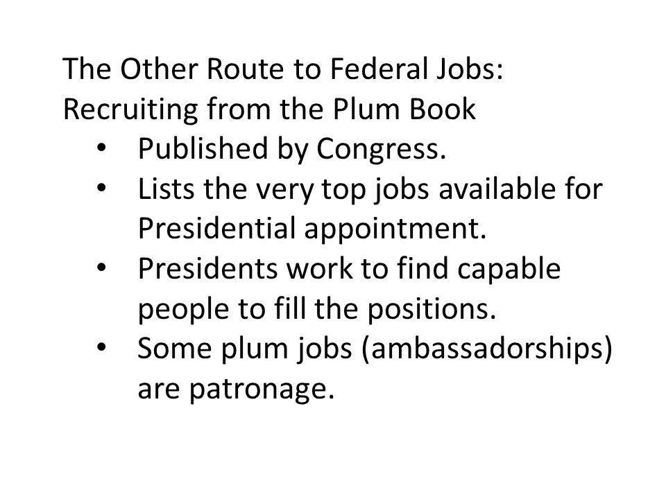 The Other Route to Federal Jobs: Recruiting from the Plum Book Published by Congress. Lists the very top jobs available for Presidential appointment.