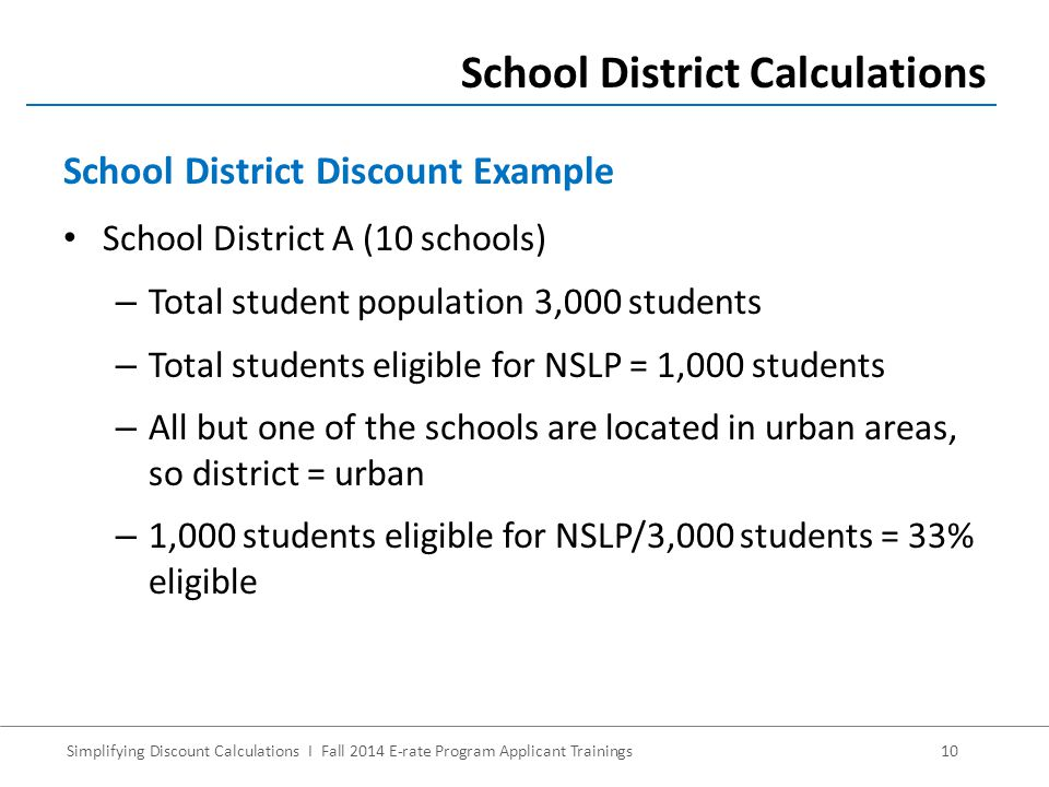 Simplifying Discount Calculations I Fall 2014 E-rate Program Applicant Trainings10 School District A (10 schools) – Total student population 3,000 students – Total students eligible for NSLP = 1,000 students – All but one of the schools are located in urban areas, so district = urban – 1,000 students eligible for NSLP/3,000 students = 33% eligible School District Calculations School District Discount Example