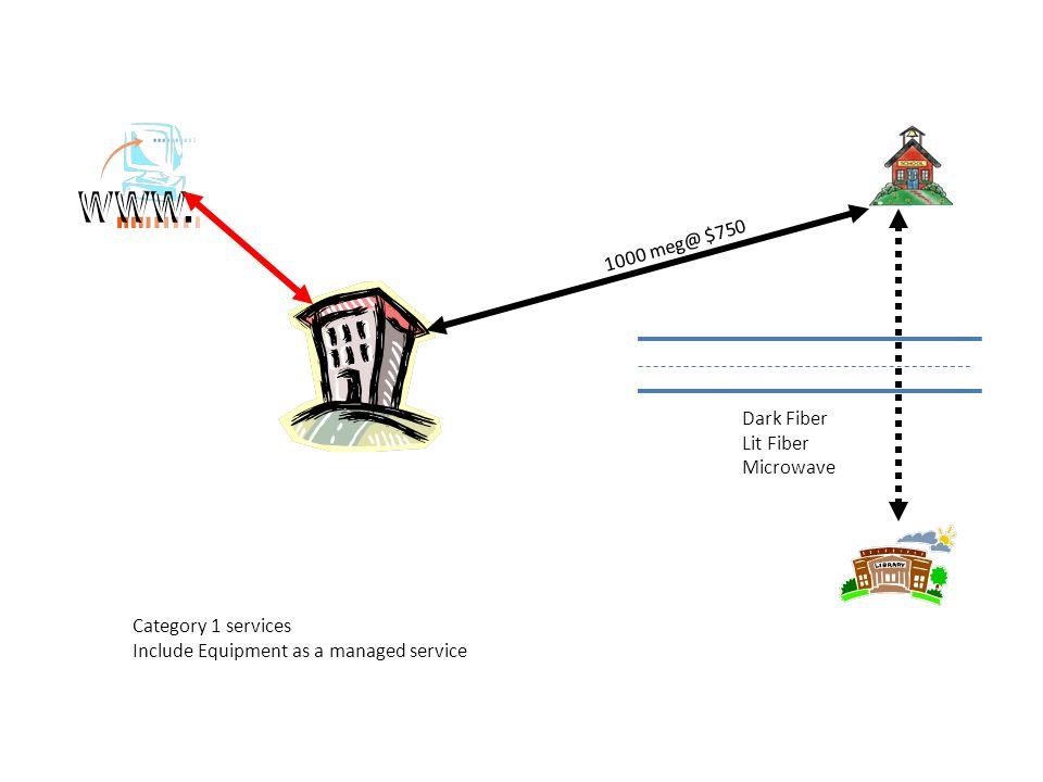 1000 meg@ $750 Dark Fiber Lit Fiber Microwave Category 1 services Include Equipment as a managed service