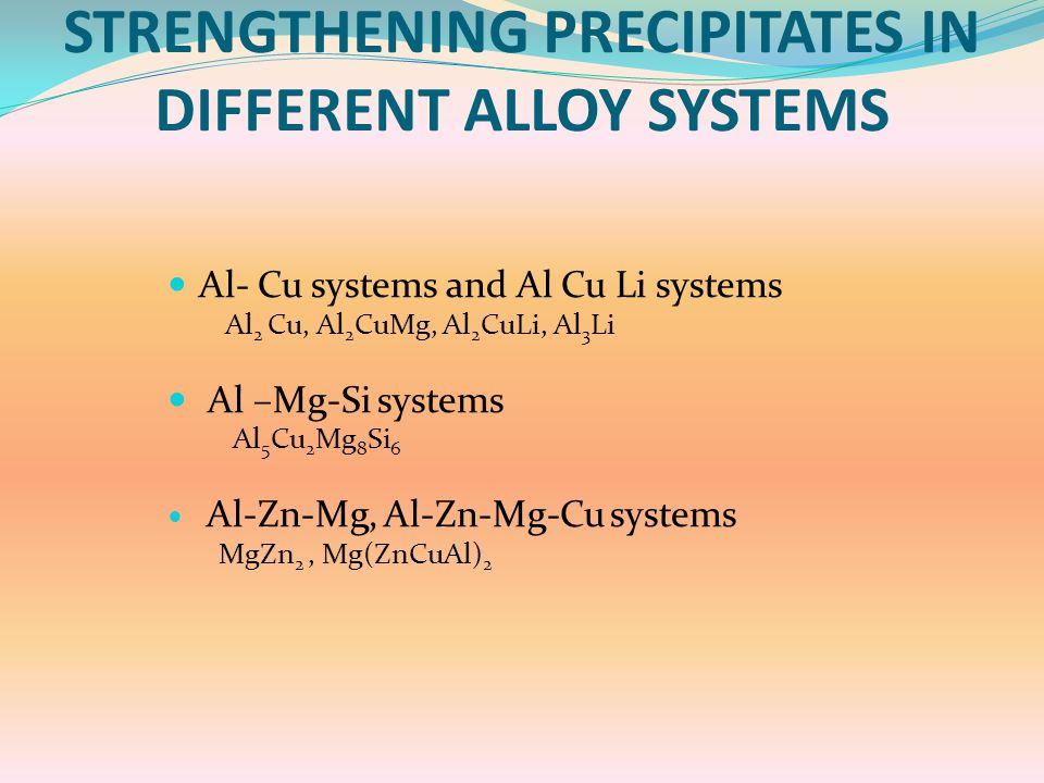 STRENGTHENING PRECIPITATES IN DIFFERENT ALLOY SYSTEMS Al- Cu systems and Al Cu Li systems Al 2 Cu, Al 2 CuMg, Al 2 CuLi, Al 3 Li Al –Mg-Si systems Al