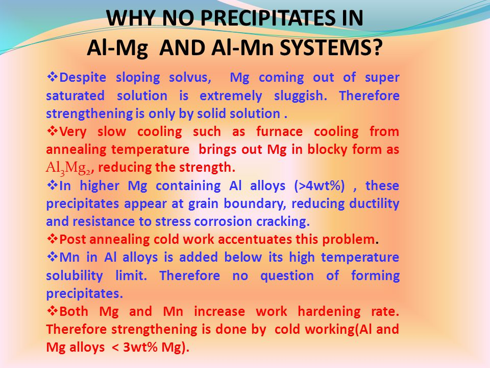 WHY NO PRECIPITATES IN Al-Mg AND Al-Mn SYSTEMS?  Despite sloping solvus, Mg coming out of super saturated solution is extremely sluggish. Therefore s