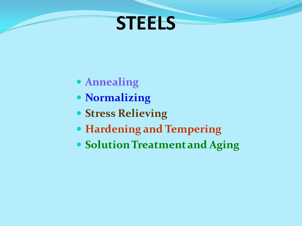 STEELS Annealing Normalizing Stress Relieving Hardening and Tempering Solution Treatment and Aging