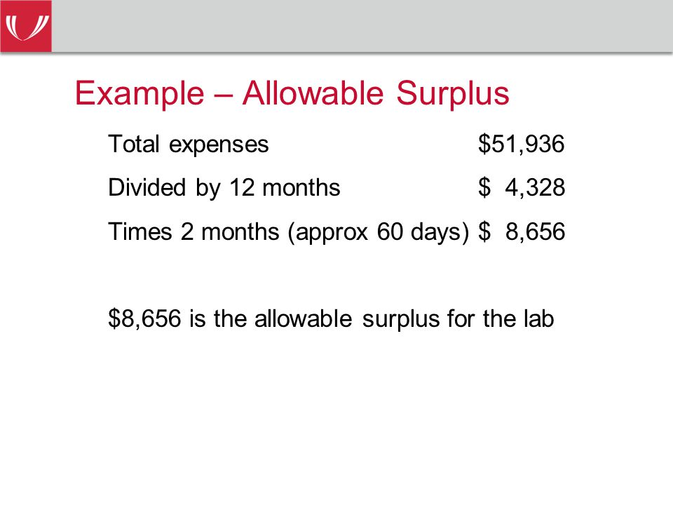 Example – Allowable Surplus Total expenses $51,936 Divided by 12 months$ 4,328 Times 2 months (approx 60 days)$ 8,656 $8,656 is the allowable surplus for the lab