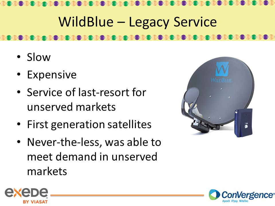 Slow Expensive Service of last-resort for unserved markets First generation satellites Never-the-less, was able to meet demand in unserved markets WildBlue – Legacy Service