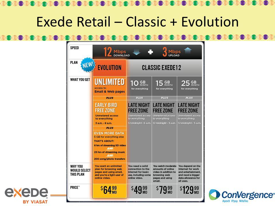 Exede Retail – Classic + Evolution