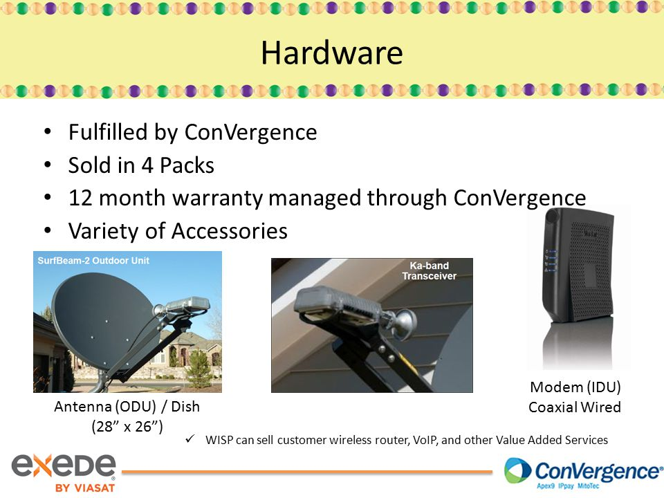 Hardware Fulfilled by ConVergence Sold in 4 Packs 12 month warranty managed through ConVergence Variety of Accessories Antenna (ODU) / Dish (28 x 26 ) Modem (IDU) Coaxial Wired WISP can sell customer wireless router, VoIP, and other Value Added Services