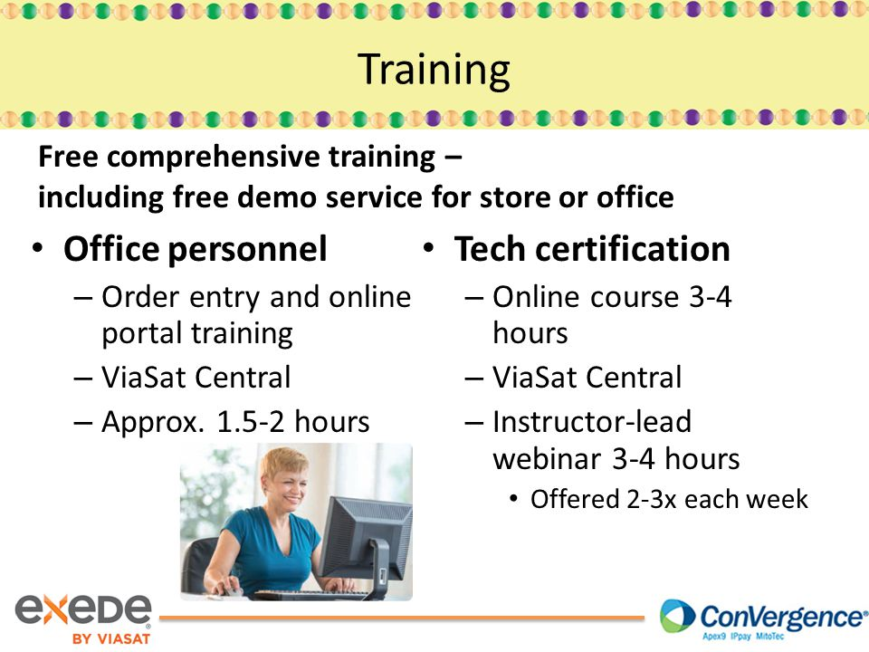 Office personnel – Order entry and online portal training – ViaSat Central – Approx.