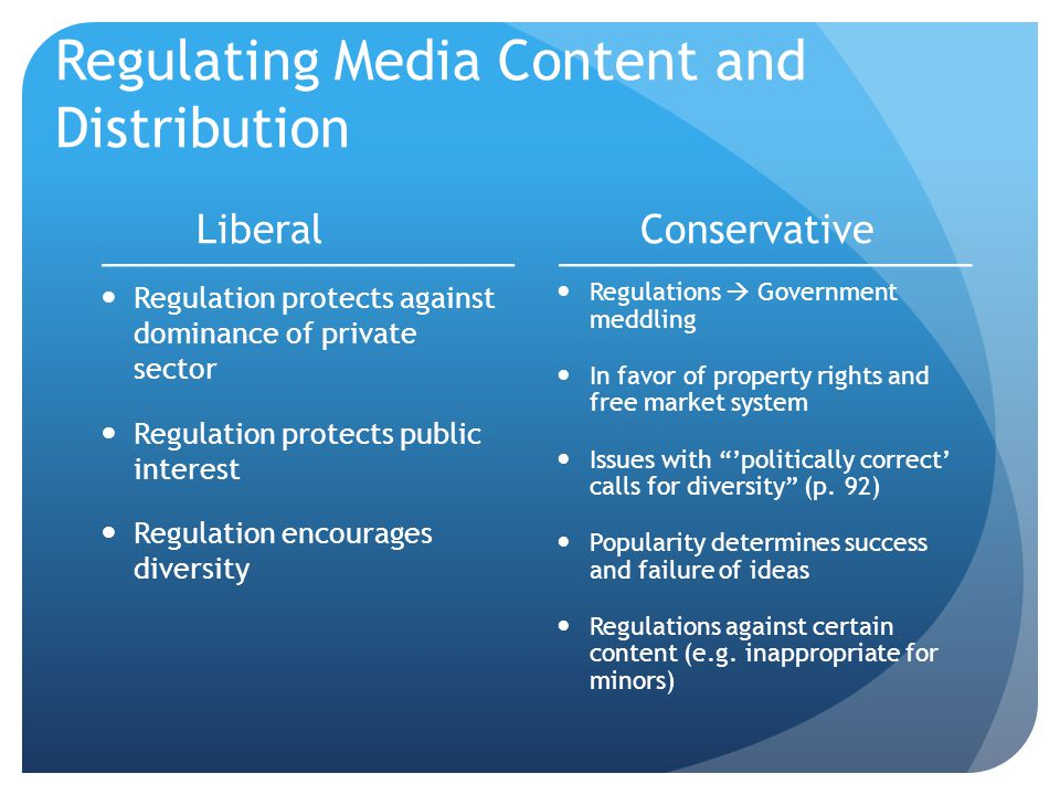 Regulating Media Content and Distribution Liberal Regulation protects against dominance of private sector Regulation protects public interest Regulation encourages diversity Conservative Regulations  Government meddling In favor of property rights and free market system Issues with 'politically correct' calls for diversity (p.