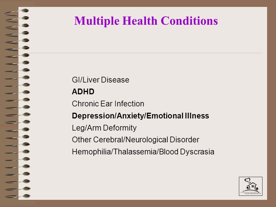 Multiple Health Conditions GI/Liver Disease ADHD Chronic Ear Infection Depression/Anxiety/Emotional Illness Leg/Arm Deformity Other Cerebral/Neurologi