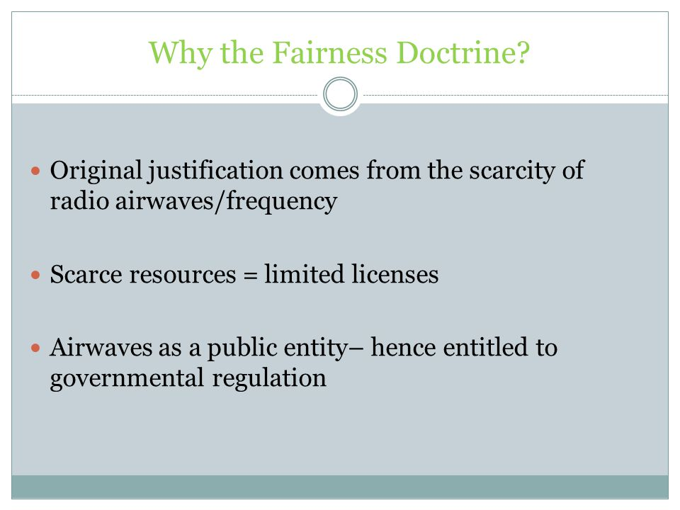 Why the Fairness Doctrine.