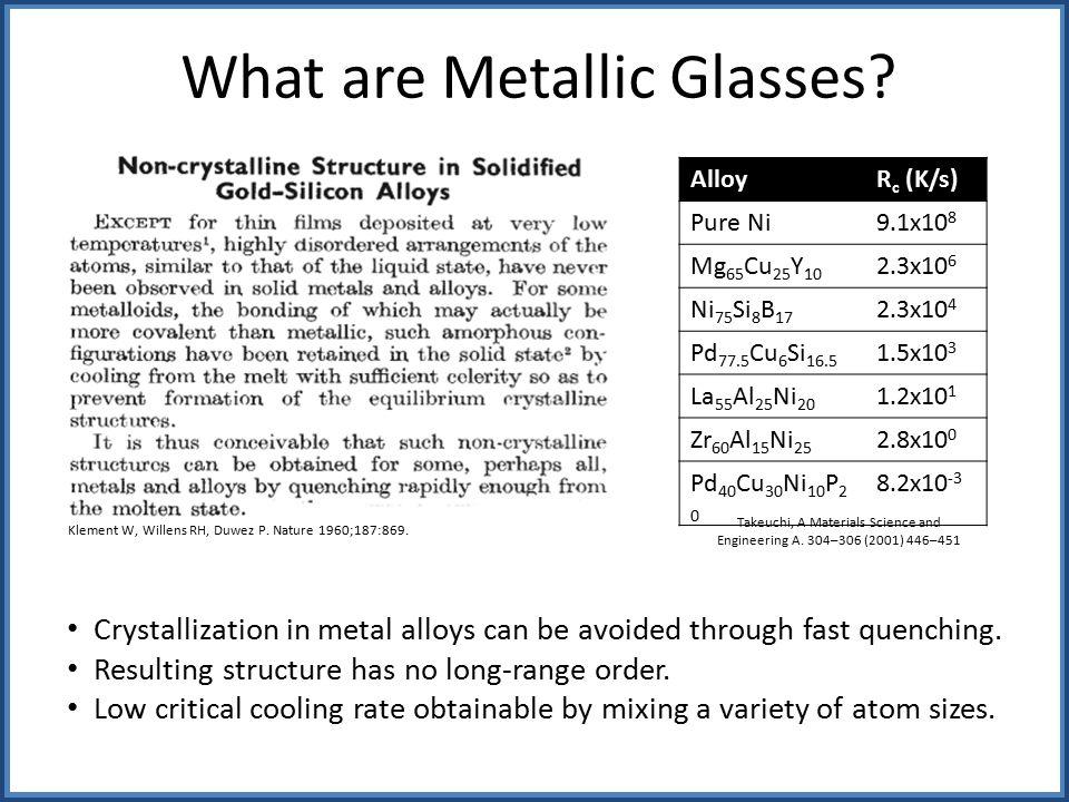 What are Metallic Glasses.
