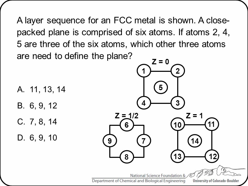 A layer sequence for an FCC metal is shown. A close- packed plane is comprised of six atoms. If atoms 2, 4, 5 are three of the six atoms, which other