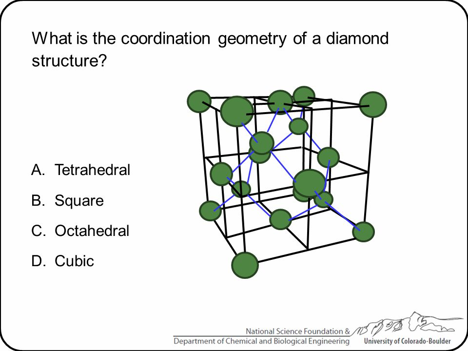What is the coordination geometry of a diamond structure? A.Tetrahedral B.Square C.Octahedral D.Cubic