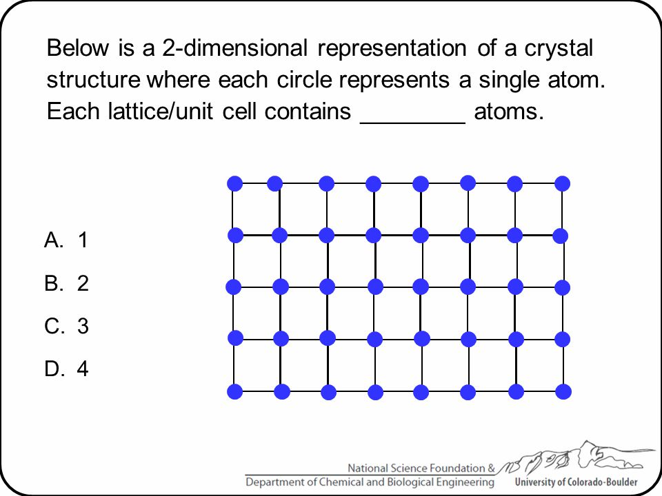 Below is a 2-dimensional representation of a crystal structure where each circle represents a single atom. Each lattice/unit cell contains ________ at