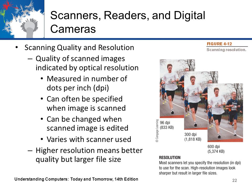 Scanners, Readers, and Digital Cameras Scanning Quality and Resolution – Quality of scanned images indicated by optical resolution Measured in number of dots per inch (dpi) Can often be specified when image is scanned Can be changed when scanned image is edited Varies with scanner used – Higher resolution means better quality but larger file size Understanding Computers: Today and Tomorrow, 14th Edition 22