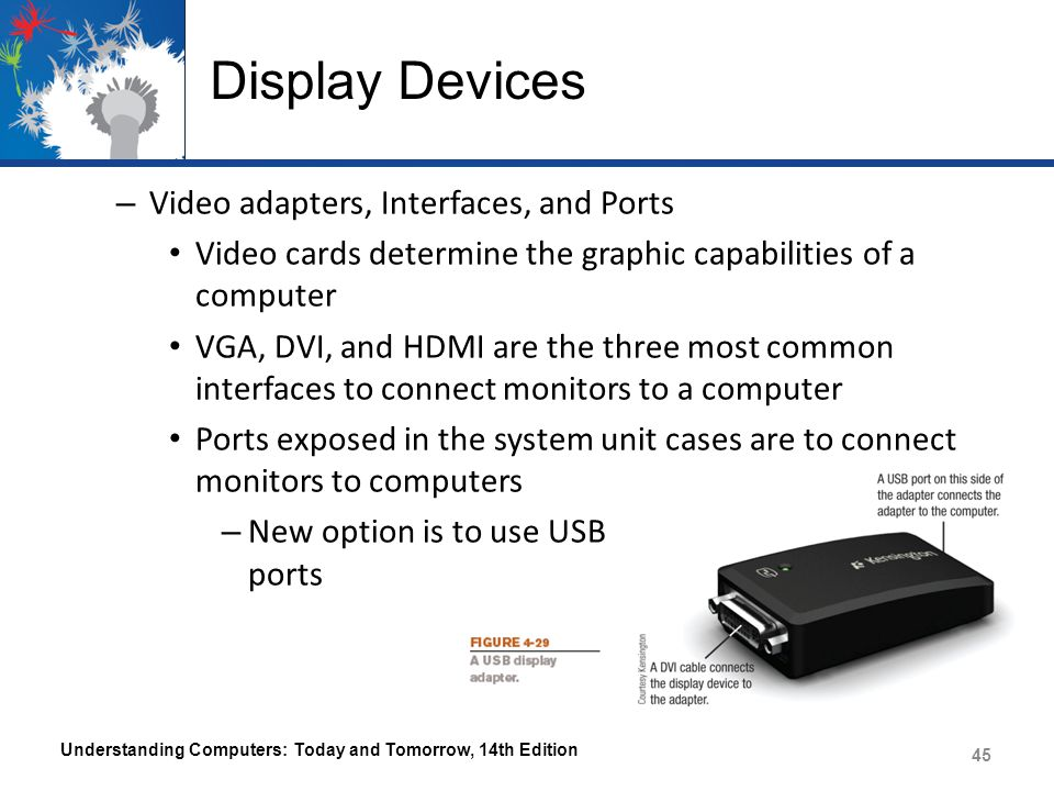 Display Devices – Video adapters, Interfaces, and Ports Video cards determine the graphic capabilities of a computer VGA, DVI, and HDMI are the three most common interfaces to connect monitors to a computer Ports exposed in the system unit cases are to connect monitors to computers – New option is to use USB ports Understanding Computers: Today and Tomorrow, 14th Edition 45