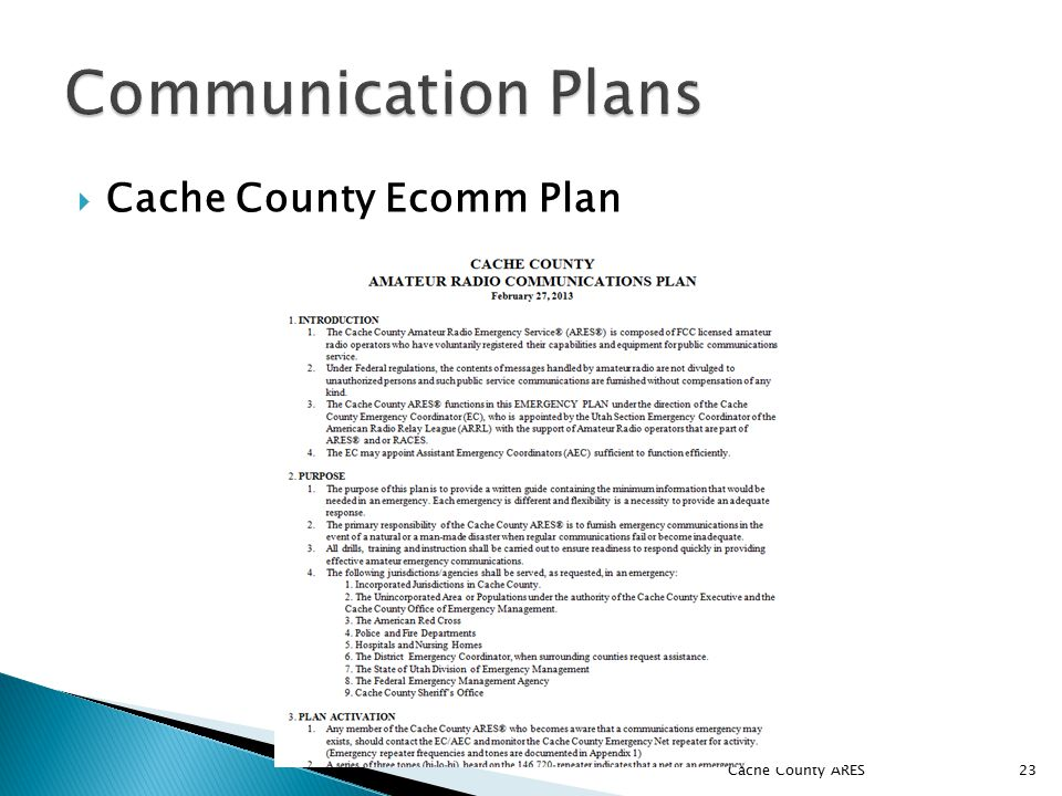  Cache County Ecomm Plan Cache County ARES 23