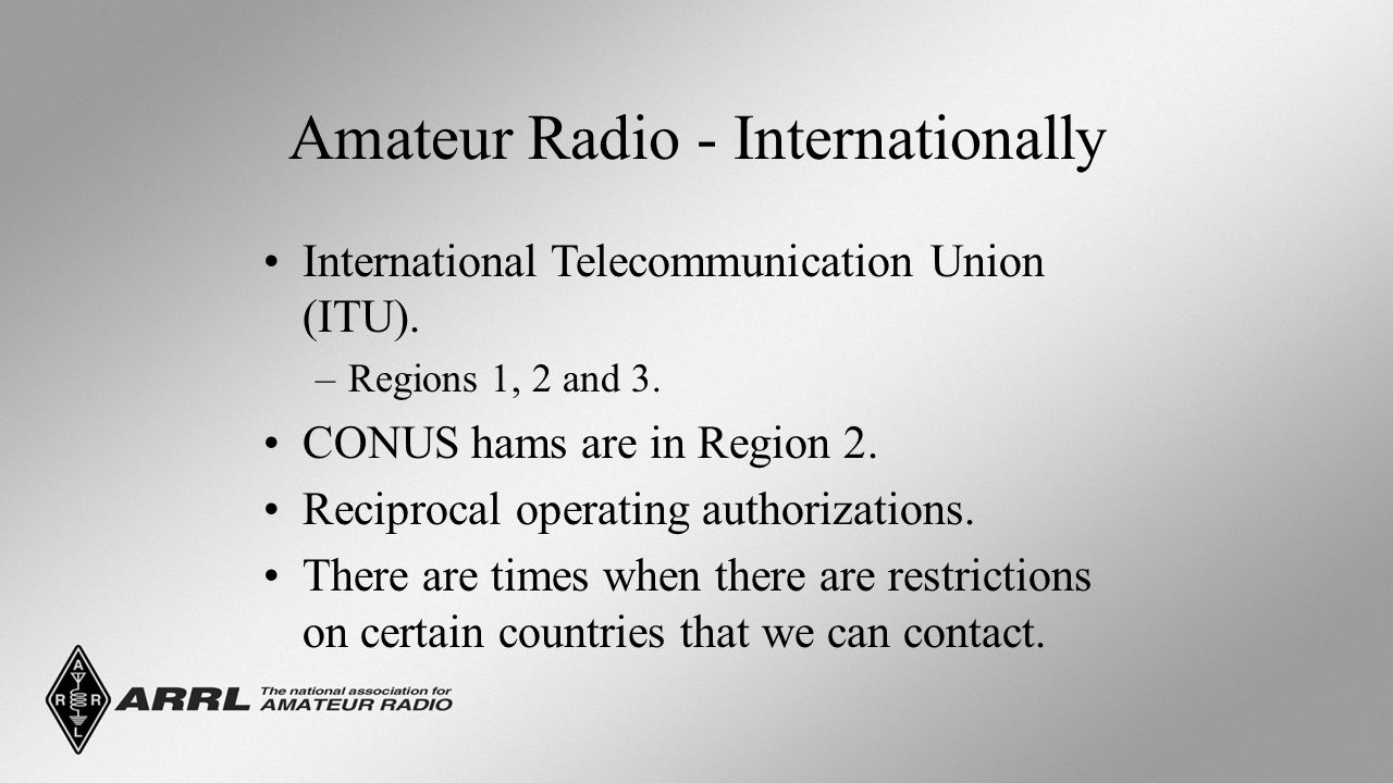 Amateur Radio - Internationally International Telecommunication Union (ITU).