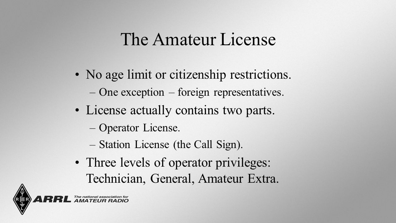 The Amateur License No age limit or citizenship restrictions.