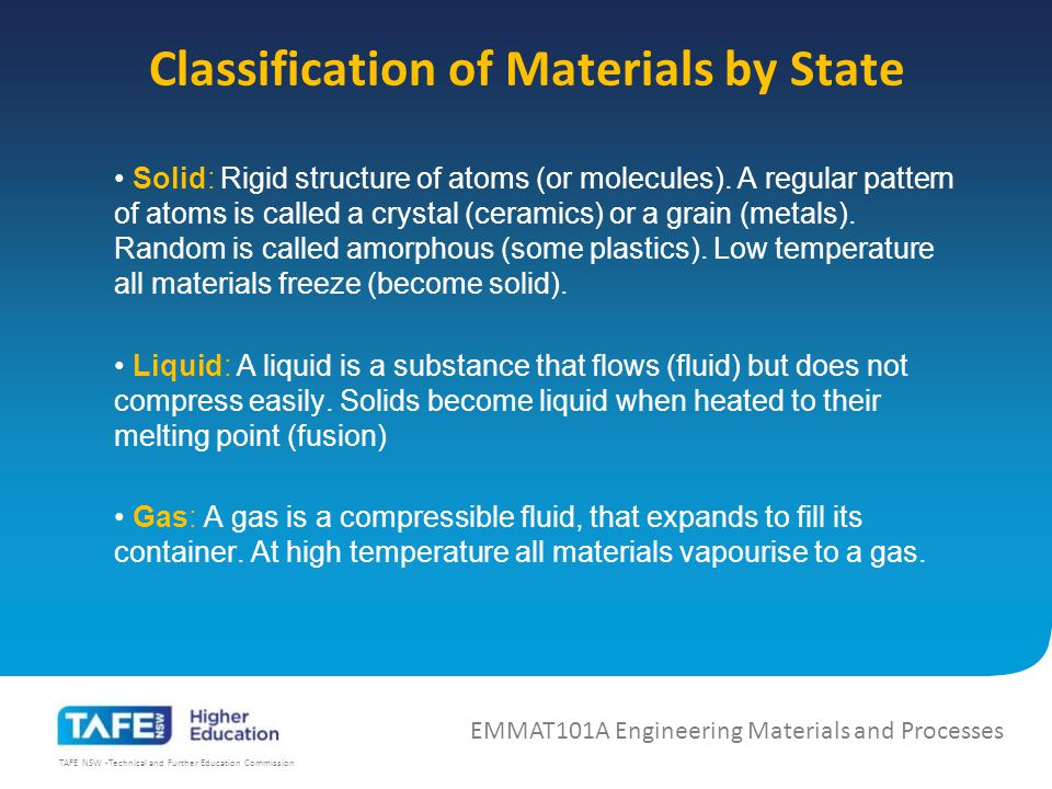 TAFE NSW -Technical and Further Education Commission Solid: Rigid structure of atoms (or molecules).