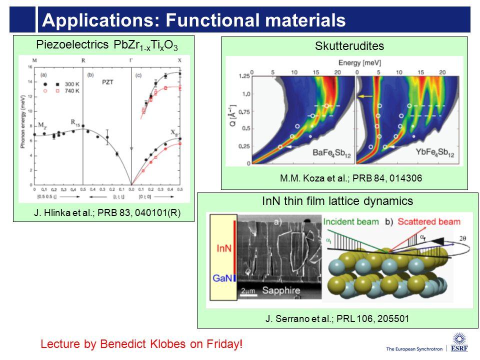 Applications: Functional materials Piezoelectrics PbZr 1-x Ti x O 3 J.