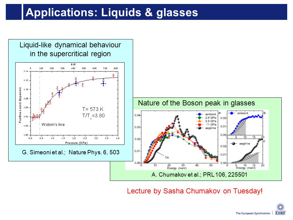 Applications: Liquids & glasses Nature of the Boson peak in glasses A.