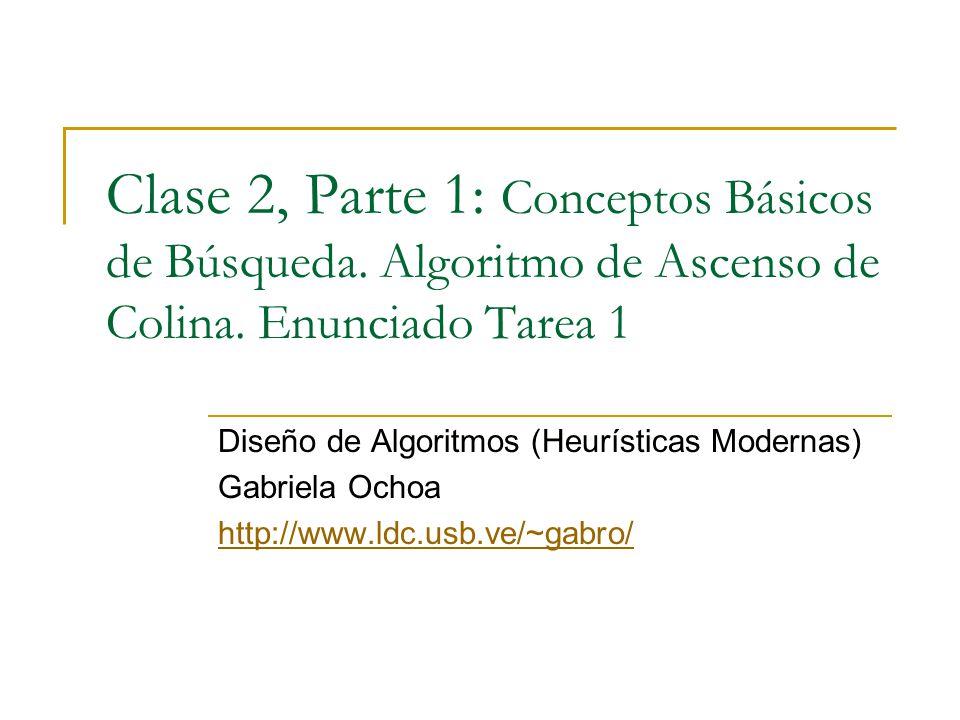 Clase 2, Parte 1: Conceptos Básicos de Búsqueda. Algoritmo de Ascenso de Colina.