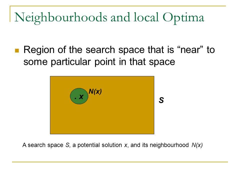 Neighbourhoods and local Optima Region of the search space that is near to some particular point in that space S.