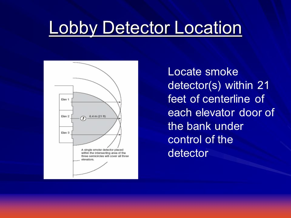 Lobby Detector Location Locate smoke detector(s) within 21 feet of centerline of each elevator door of the bank under control of the detector