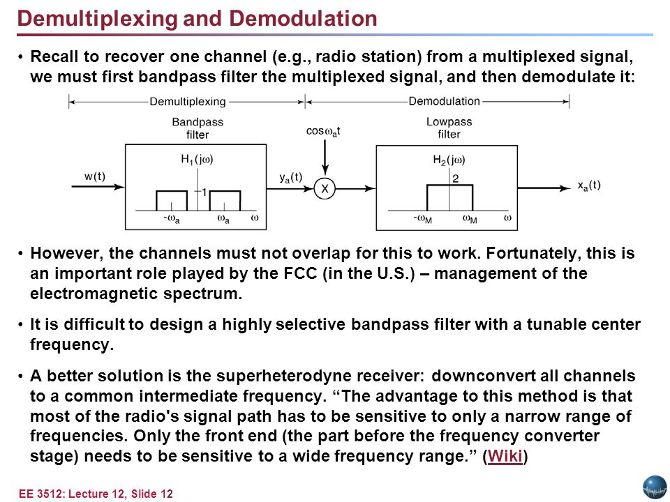 EE 3512: Lecture 12, Slide 12 Recall to recover one channel (e.g., radio station) from a multiplexed signal, we must first bandpass filter the multiplexed signal, and then demodulate it: However, the channels must not overlap for this to work.
