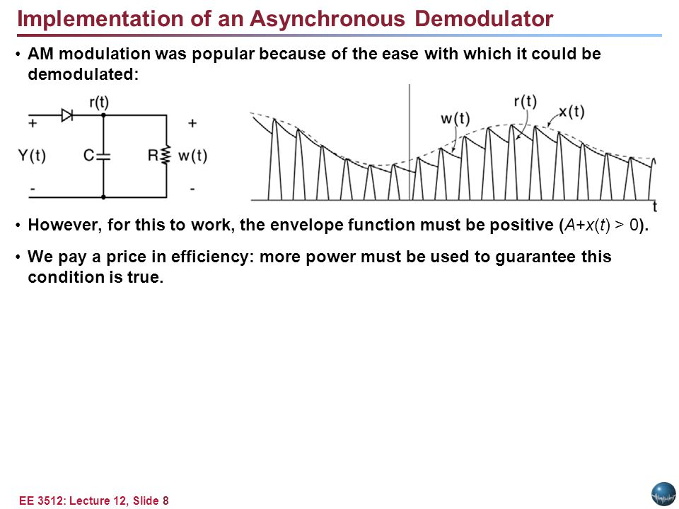 EE 3512: Lecture 12, Slide 8 Implementation of an Asynchronous Demodulator AM modulation was popular because of the ease with which it could be demodulated: However, for this to work, the envelope function must be positive (A+x(t) > 0).