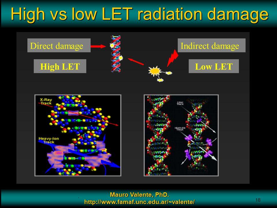 Prof. Mauro Valente - CONICET & Universidad Nacional de Cordoba 18 High vs low LET radiation damage Mauro Valente, PhD. http://www.famaf.unc.edu.ar/~v