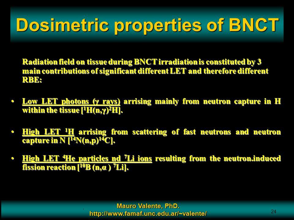 Prof. Mauro Valente - CONICET & Universidad Nacional de Cordoba 24 Dosimetric properties of BNCT Mauro Valente, PhD. http://www.famaf.unc.edu.ar/~vale