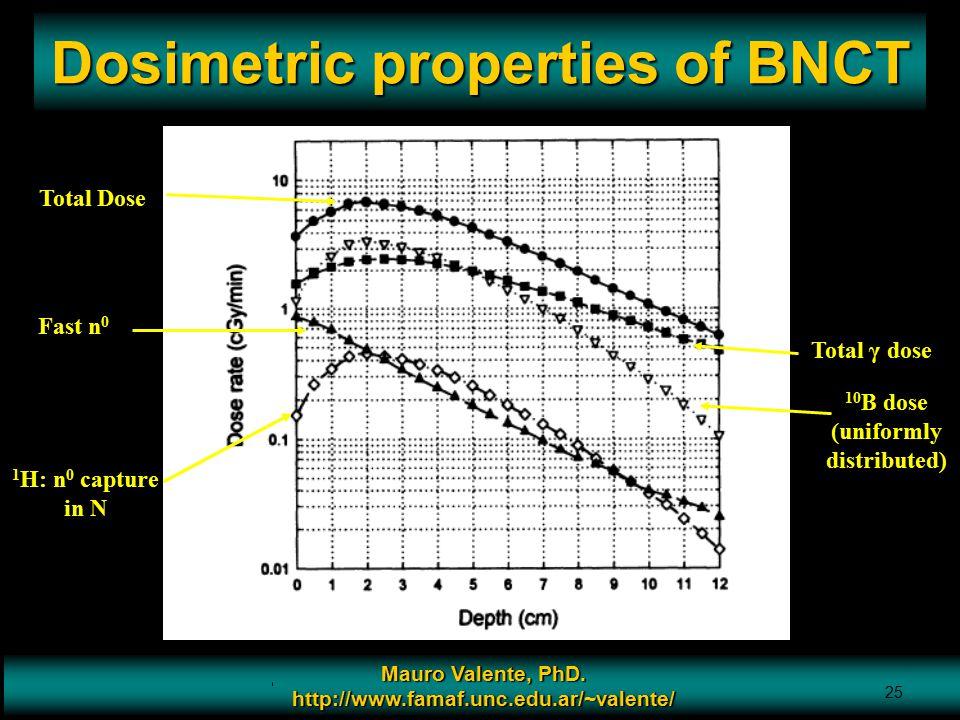 Prof. Mauro Valente - CONICET & Universidad Nacional de Cordoba 25 Dosimetric properties of BNCT Mauro Valente, PhD. http://www.famaf.unc.edu.ar/~vale