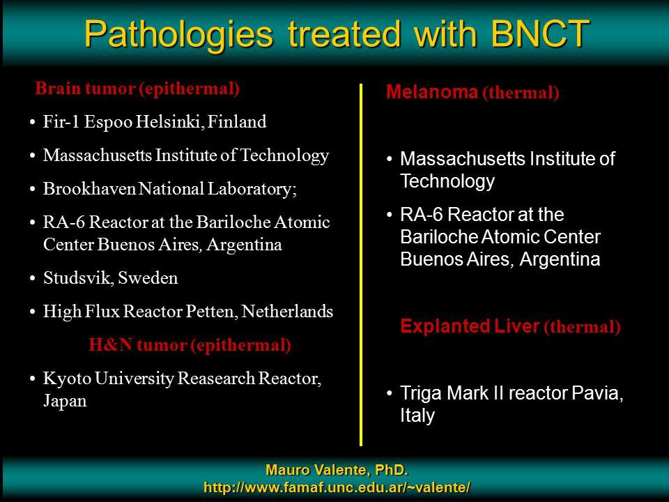 Prof. Mauro Valente - CONICET & Universidad Nacional de Cordoba 9 Pathologies treated with BNCT Mauro Valente, PhD. http://www.famaf.unc.edu.ar/~valen