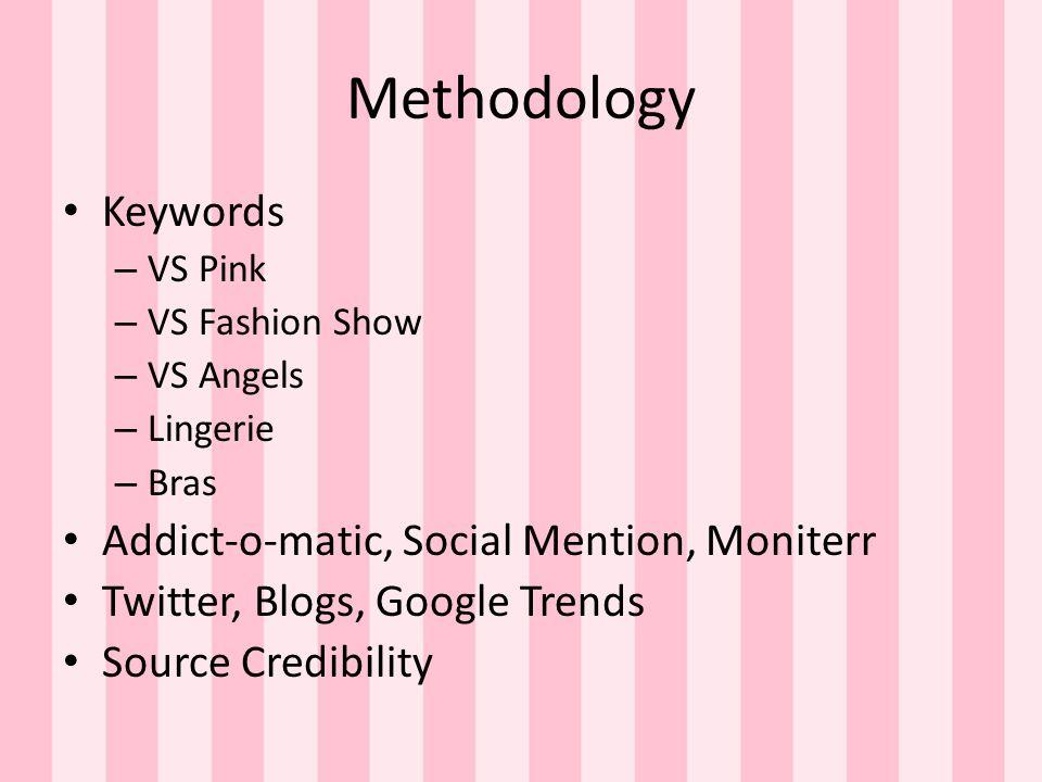 Methodology Keywords – VS Pink – VS Fashion Show – VS Angels – Lingerie – Bras Addict-o-matic, Social Mention, Moniterr Twitter, Blogs, Google Trends