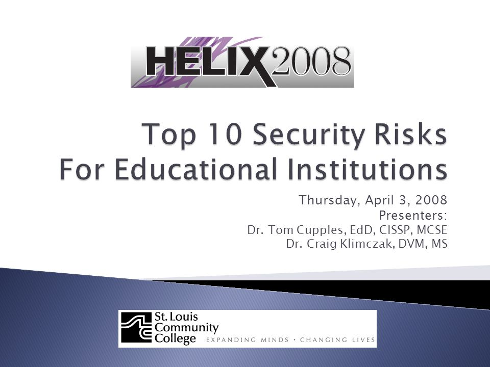  Security Terms 101  The Security Forecast ◦ Technology Risks ◦ Personnel Risks  The Threat to Higher Education  Tools for Coping Thursday, April 3, 2008