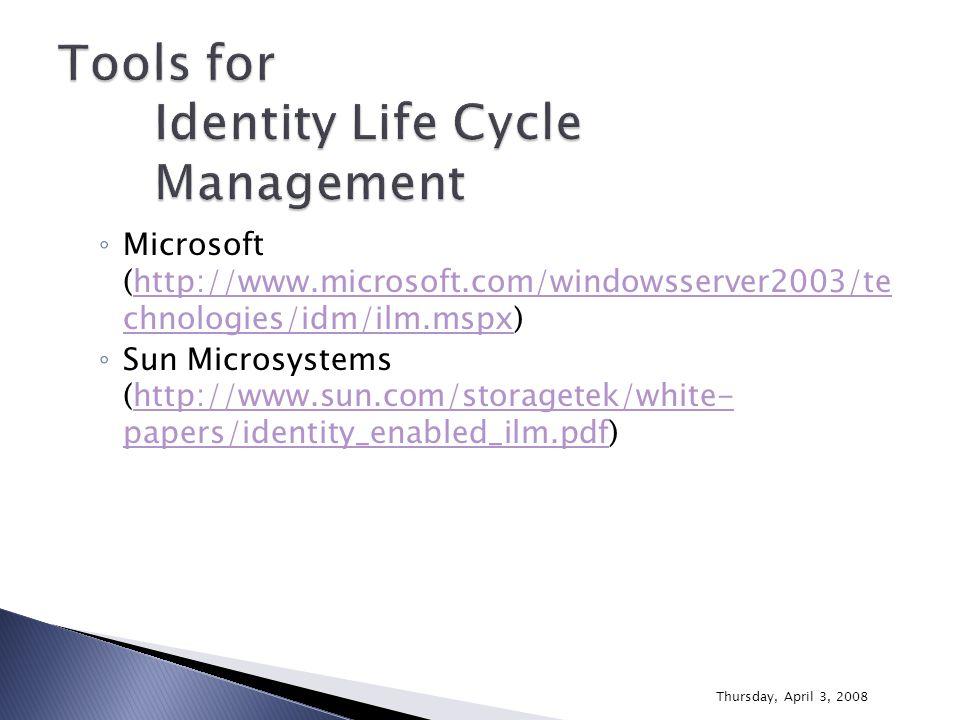 ◦ Microsoft (http://www.microsoft.com/windowsserver2003/te chnologies/idm/ilm.mspx)http://www.microsoft.com/windowsserver2003/te chnologies/idm/ilm.ms