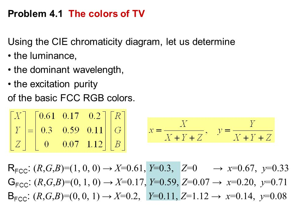 Problem 4.1 The colors of TV Using the CIE chromaticity diagram, let us determine the luminance, the dominant wavelength, the excitation purity of the basic FCC RGB colors.