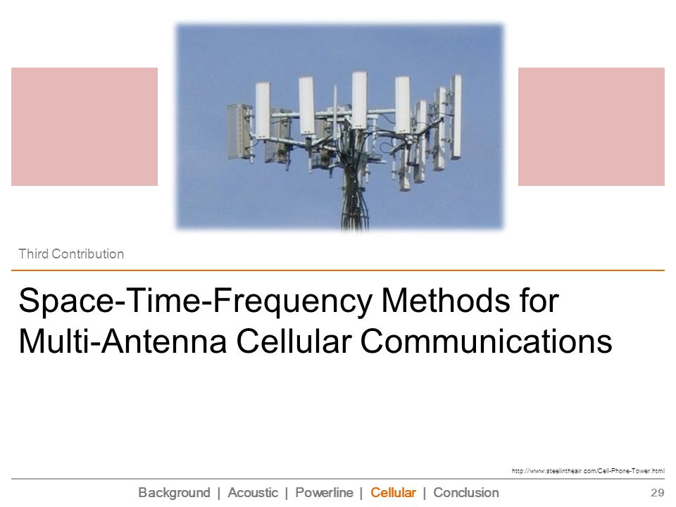 Space-Time-Frequency Methods for Multi-Antenna Cellular Communications Third Contribution 29 http://www.steelintheair.com/Cell-Phone-Tower.html Background | Acoustic | Powerline | Cellular | Conclusion