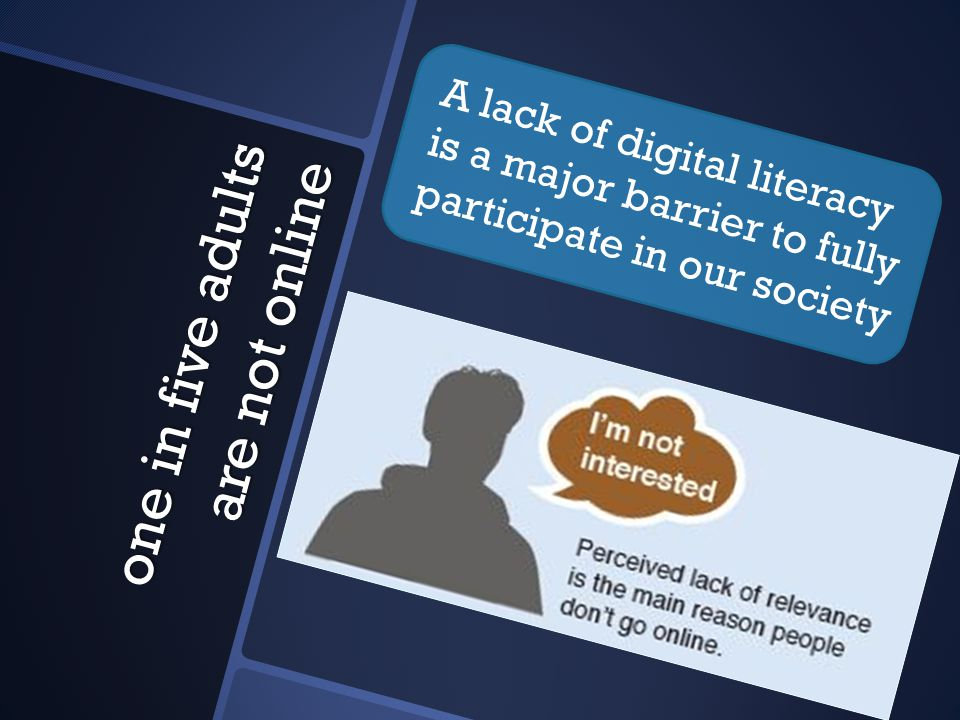 one in five adults are not online A lack of digital literacy is a major barrier to fully participate in our society