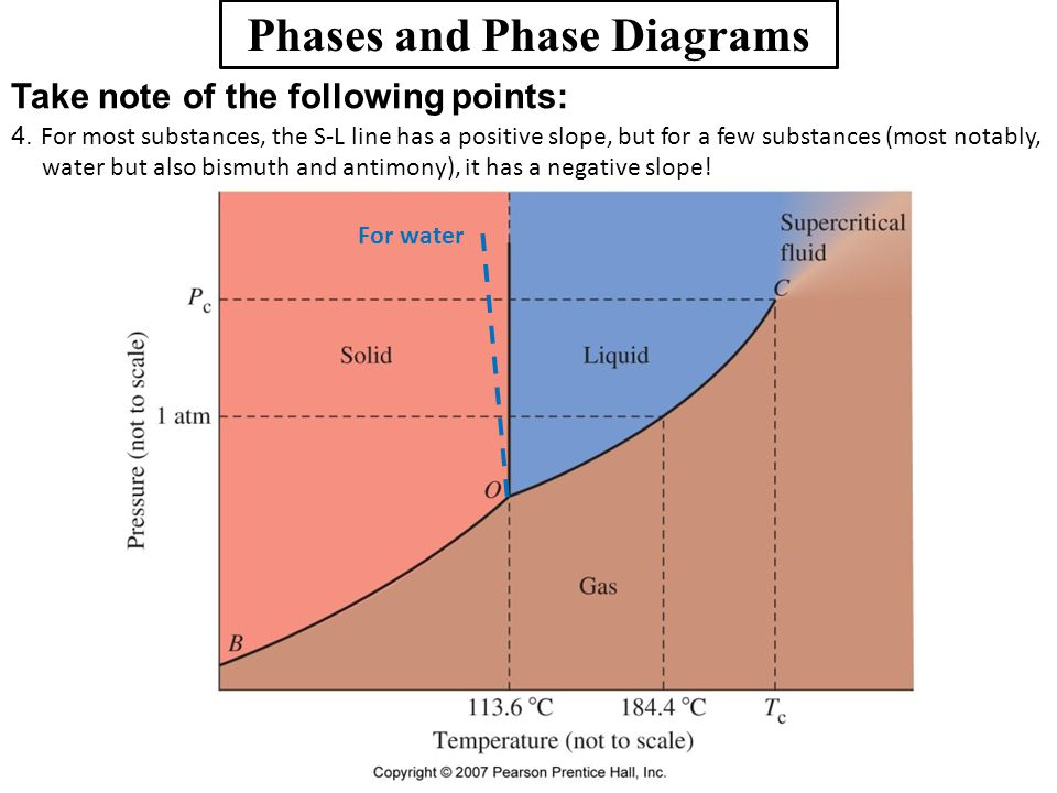 Phases and Phase Diagrams Take note of the following points: 4. For most substances, the S-L line has a positive slope, but for a few substances (most
