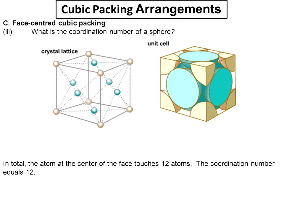 Cubic Packing Arrangements C. Face-centred cubic packing (iii) What is the coordination number of a sphere? In total, the atom at the center of the fa