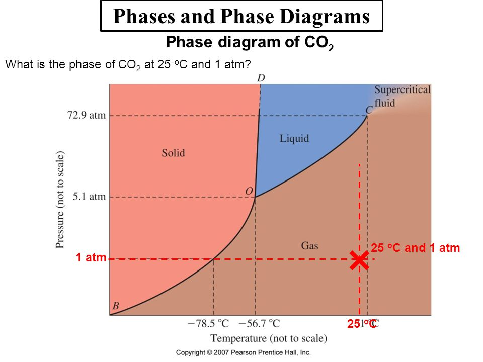Phases and Phase Diagrams Phase diagram of CO 2 What is the phase of CO 2 at 25 o C and 1 atm? We are dealing with a gas. 25 o C 25 o C and 1 atm 1 at