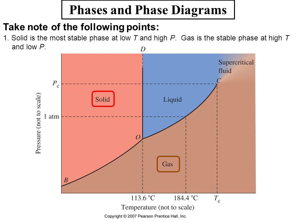 Phases and Phase Diagrams Take note of the following points: 1. Solid is the most stable phase at low T and high P. Gas is the stable phase at high T