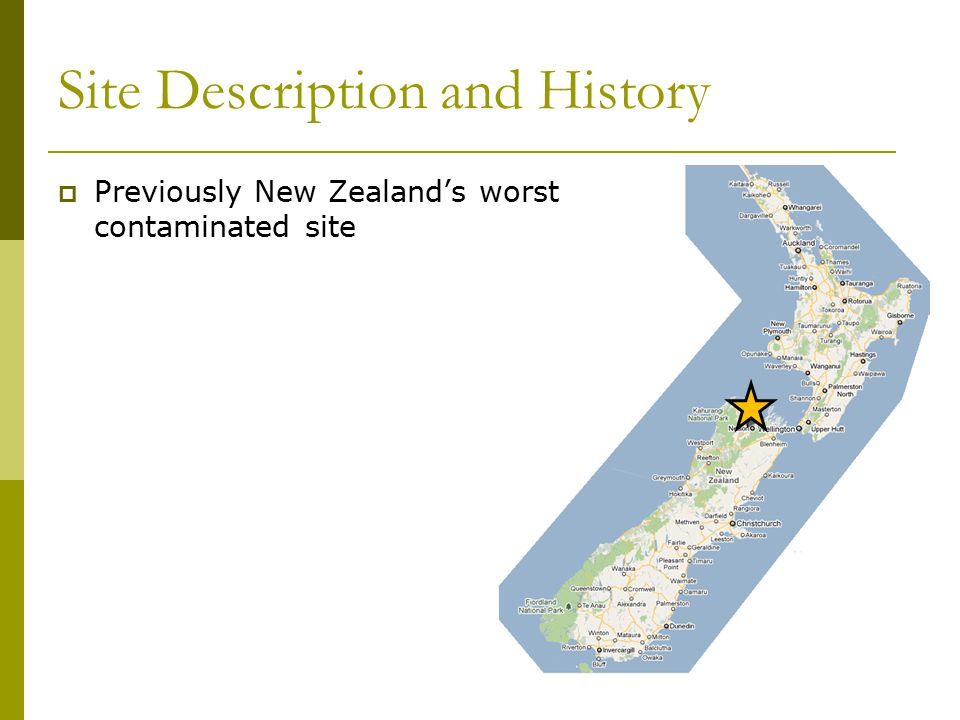 Site Description and History  Previously New Zealand's worst contaminated site  Decades of pesticide pollution by the Fruitgrowers Chemical Company (FCC)