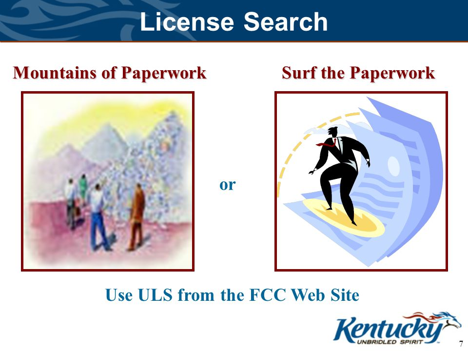 7 License Search Mountains of Paperwork Surf the Paperwork or Use ULS from the FCC Web Site